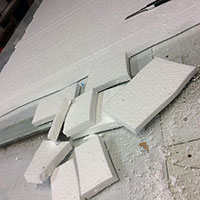 Wall Backdrop 01 - Cutting up polystyrene sheets to form bricks