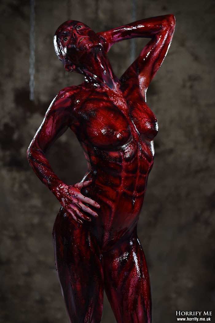 Peeld skin muscle body paint horror photography