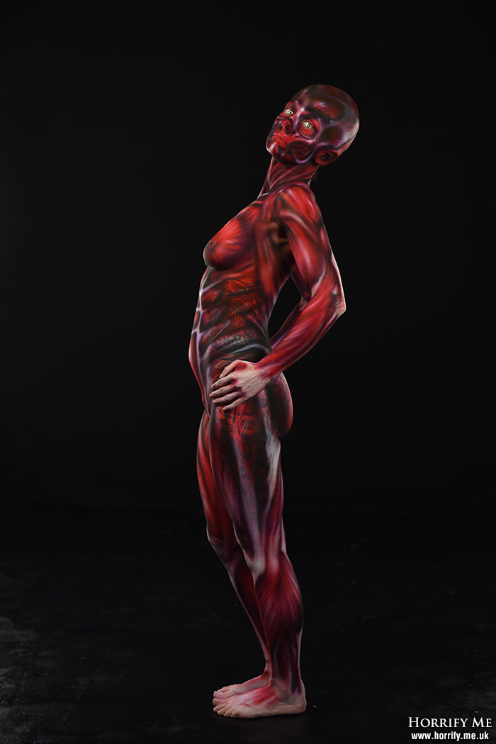 Peeled skin body paint Hellraiser art
