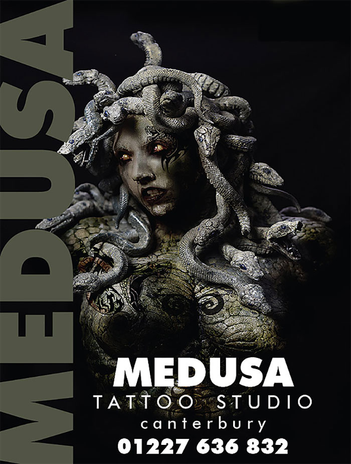 Click to buy print - Medusa Tattoos - image design and shop signage for tattoo shop