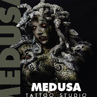 Medusa Tattoos - image design and shop signage for tattoo shop